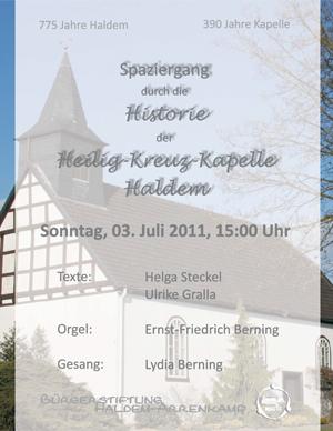 Spaziergang durch die Historie der Heilig-Kreuz-Kapelle Haldem