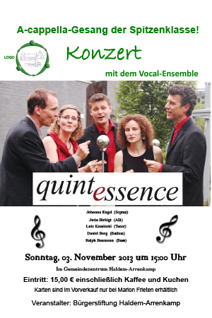 "Konzert mit dem A-Capella-Chor ""Quintessenz"""