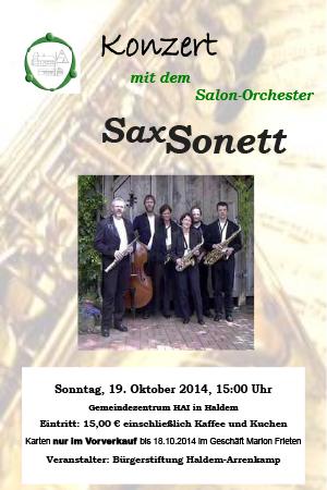 """Konzert mit dem Saxophon-Qintett """"SaxSonett"""""""